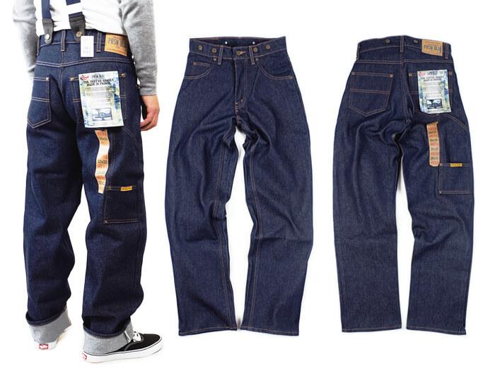 プリズンブルース PRISON BLUES ワークジーンズ サスペンダーボタン リジッドブルー アメリカ製 米国製 デニム ペインターパンツ