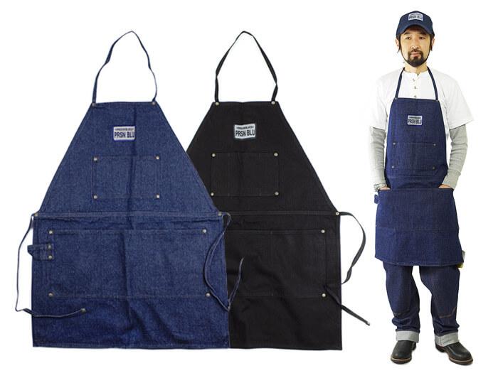 プリズンブルース PRISON BLUES ワークエプロン リンスドブルー リンスドブラック アメリカ製 米国製 デニム