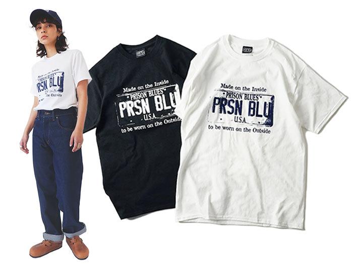 プリズンブルース PRISON BLUES 半袖 USA プレートロゴ Tシャツ プリントTシャツ USA PLATE LOGO T-SHIRTS