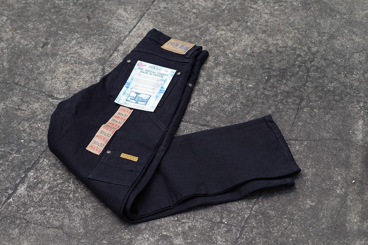プリズンブルース PRISON BLUES ワークジーンズ リンスドブラック アメリカ製 米国製 デニム ペインターパンツ