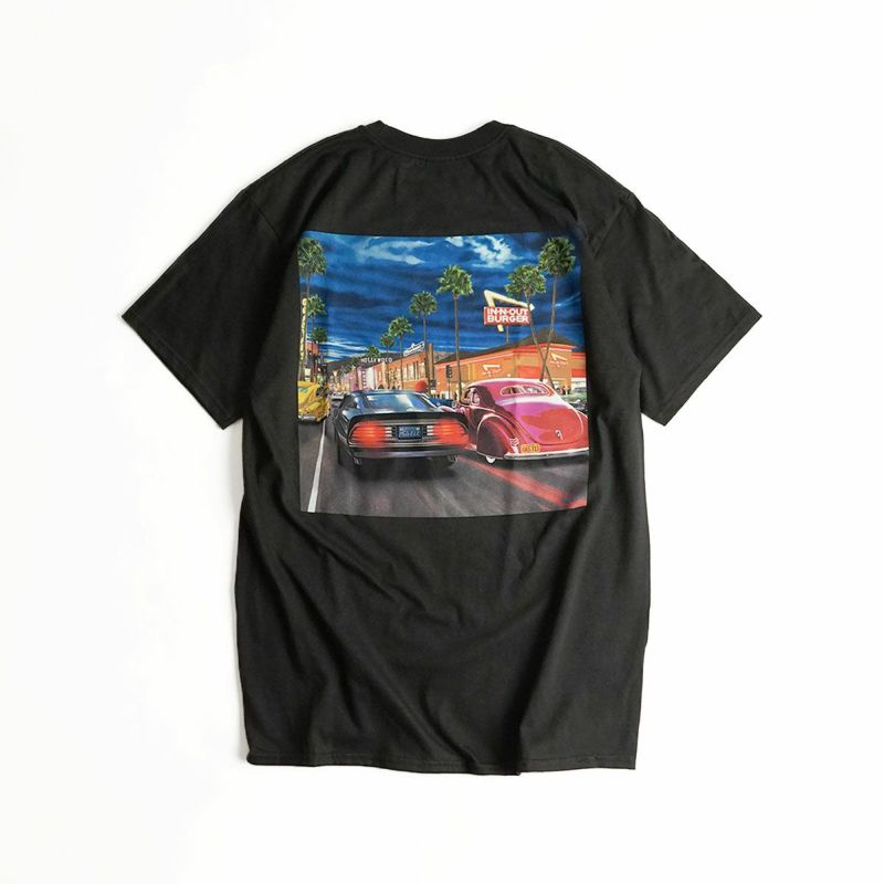 インアンドアウトバーガー半袖Tシャツ2018ハリウッドクルージングブラック(メンズS-XXLIn-N-OutBurgerご当地Tシャツ海外買い付け)
