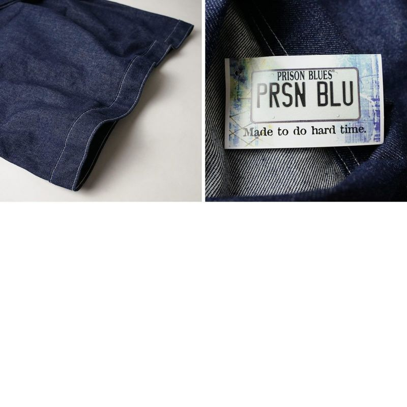 プリズンブルースPRISONBLUESデニムヤードコートリジッドブルー別注ホワイトスステッチ(メンズXS-XLアメリカ製米国製カバーオール)