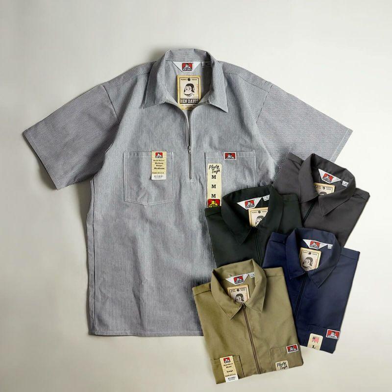 ベンデイビスBENDAVIS半袖1/2ジップワークシャツアメリカ流通モデル(メンズ124/183/122/168/108S-XLアメリカ製米国製ハーフジップ無地)